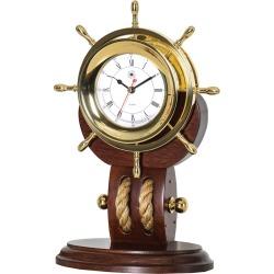 Bey-Berk Lacquered Brass Ships Wheel Quartz Clock