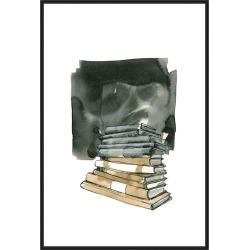 Books, Decorative Framed Hand Embellished Canvas