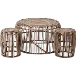 Imax Worldwide Home Set of 3 Neutro Rattan Coffee & Accent Tables