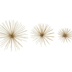 Set of 3 Metal Gold Wall Stars