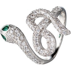 Eye Candy Los Angeles The Luxe Collection Rhodium Plated CZ Snake Eye Ring