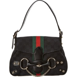 b385105adf9f31 Gucci Black GG Canvas & Leather Horsebit Shoulder Bag found on MODAPINS  from Gilt for USD