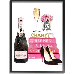 Stupell Glam Pink Fashion Book Champagne Hells and Flowers Framed Art Framed Art found on Bargain Bro Philippines from Gilt City for $39.99