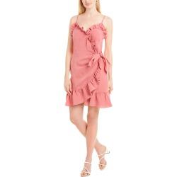 Rebecca Taylor Ruffle Linen-Blend Faux Wrap Dress
