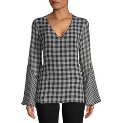 Calvin Klein Gingham V-Neck Bell-Sleeve Top found on Bargain Bro India from Gilt for $39.99