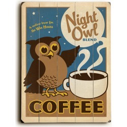 Night Owl Coffee Planked Wood Wall Decor By Anderson Design Group found on Bargain Bro India from Gilt City for $75.99