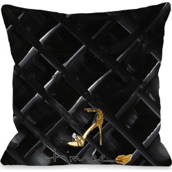 Bow Perfume/Black Quilted- White Black Pillow by T