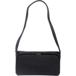 Bottega Veneta Black Intrecciato Silk Shoulder Bag