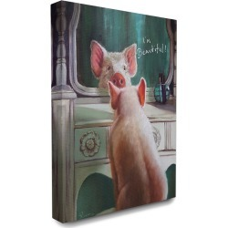Stupell The Stupell Home Decor Collection I'm Beautiful Painted Pig in Mirror Illustration found on Bargain Bro Philippines from Ruelala for $49.99