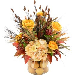 Hydrangea, Ranunculus and Wheat in Glass Vase with Lemons