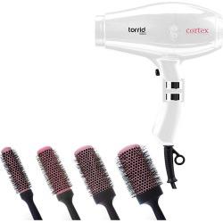 Cortex Professional Torrid Compact Hair Dryer 1400 to 1875 Watts & Premium  Quality Ceramic Round Blush Pink Brushes