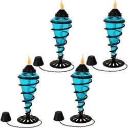 SunnyDaze Blue Glass Outdoor Tabletop Torches