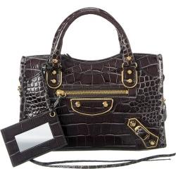 Balenciaga Classic Metallic Edge City Mini Croc-Embossed Leather Shoulder Bag