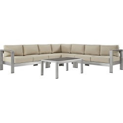 Modway Outdoor Shore 6pc Outdoor Patio Aluminum Sectional Sofa Set found on Bargain Bro India from Gilt City for $3009.99