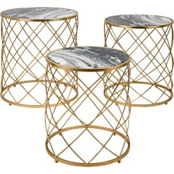 Imax Worldwide Home Set of 3 Contrast Faux Marble Tables