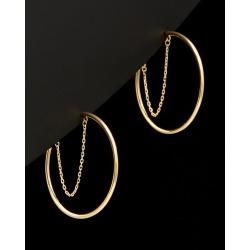 14K Italian Gold Chain Open Hoops