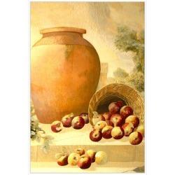 Urn with Apples, Decorative Framed Hand Embellishe