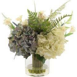 Hydrangea and Vines in Glass Vase
