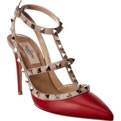 Valentino Rockstud Caged 100 Leather Ankle Strap Pump