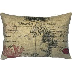 Coastal Seahorse Linen Pillow