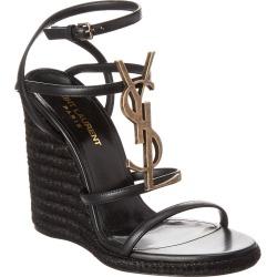 Saint Laurent Cassandra 110 Leather Wedge Sandal found on Bargain Bro India from Gilt City for $679.99