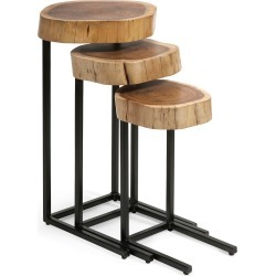 Imax Worldwide Home Set of 3 Nadera Wood & Iron Nesting Tables