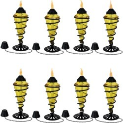 SunnyDaze Yellow Glass Outdoor Tabletop Torches