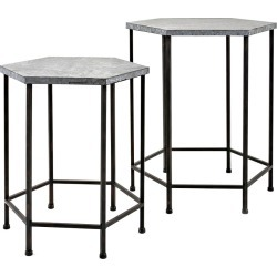 IMAX Set of 2 Kendan Galvanized Accent Tables
