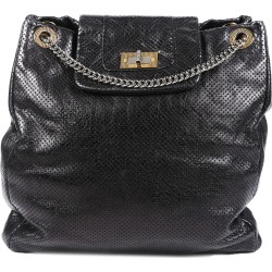 Chanel Grey Perforated Crinkled Calfskin Leather Drill Large Bag