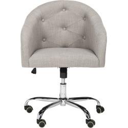 Safavieh Amy Tufted Linen Chrome Leg Swivel Office Chair found on Bargain Bro from Gilt for USD $212.79