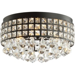 Jonathan Y Meredith 14.5in 3-Light Crystal Drops Metal LED Flush Mount. Black by JONATHAN  Y