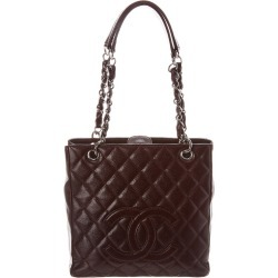 Chanel Burgundy Quilted Caviar Leather Petite Shopping Tote