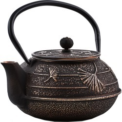 Old Dutch Black/Copper Cast Iron Ginkgo Teapot