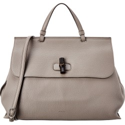 Gucci Grey Leather Bamboo Daily Bag
