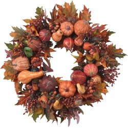 Nearly Natural 28in Harvest Wreath