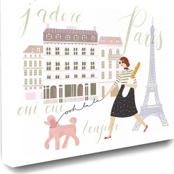 Stupell The Stupell Home Decor Collection Eiffel Tower Scene Paris Girl Walking Her Dog with Typography found on Bargain Bro Philippines from Gilt for $39.99