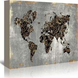 Gold World Map by PI Creative Art