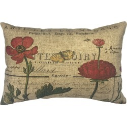 French Flowers Linen Pillow