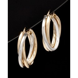 14K Italian Gold Two-Tone Hoops