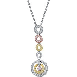 Genevive 14K over Silver & Silver Tri-Color CZ Necklace found on Bargain Bro India from Gilt for $59.99