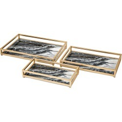 IMAX Set of 3 Contrast Faux Marble Decorative Trays