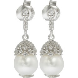 Suzy Levian Silver 0.65 ct. tw. Sapphire & 8mm Pearl Drop Earrings found on Bargain Bro India from Gilt for $69.99