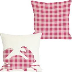 """One Bella Casa """"Plaid Crab"""" Decorative Pillow"""