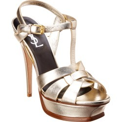 Saint Laurent Tribute 105 Metallic Leather Sandal found on Bargain Bro India from Gilt City for $599.00