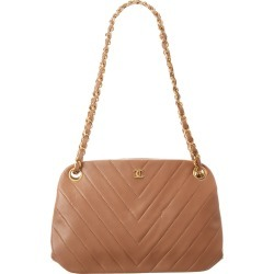 Chanel Beige Chevron Quilted Lambskin Leather Shoulder Bag found on Bargain Bro Philippines from Gilt City for $2350.00