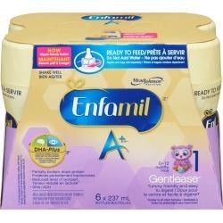 Enfamil Enfamil A+ Gentlease Baby Formula Ready to Feed-Nipple Ready Bottles 6 pack 237.0 ML