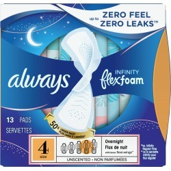 Always Always Infinity FlexFoam Pads for Women, Size 4, Overnight Absorbency, Unscented, 13 Count 13.0 Count
