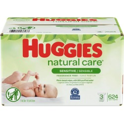 Huggies Huggies Natural Care Sensitive Baby Wipes, Unscented, 3 Refill Packs 624.0 Wipes