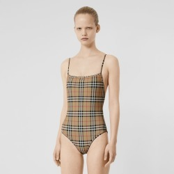 Burberry Vintage Check Swimsuit, Yellow