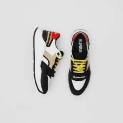 Burberry Nylon, Suede and Vintage Check Sneakers, Size: 43, Beige found on Bargain Bro from Burberry for USD $570.00